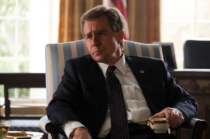 Sam Rockwell jako George W. Bush w filmie Vice, reż. Adam McKay